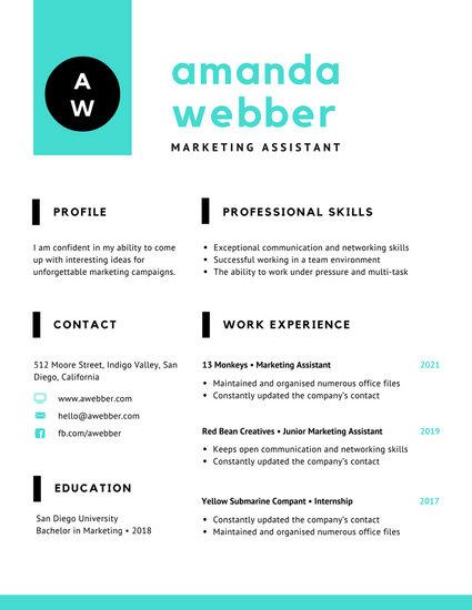 Aqua Black Minimal Resume - Templates by Canva - networking skills resume