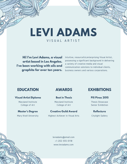 Blue Patterned Creative Resume - Templates by Canva