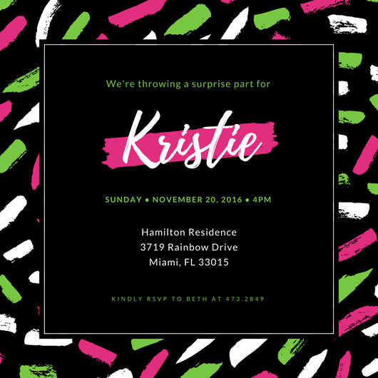 Black Pink Green Paint Strokes Surprise Party Invitation - Templates