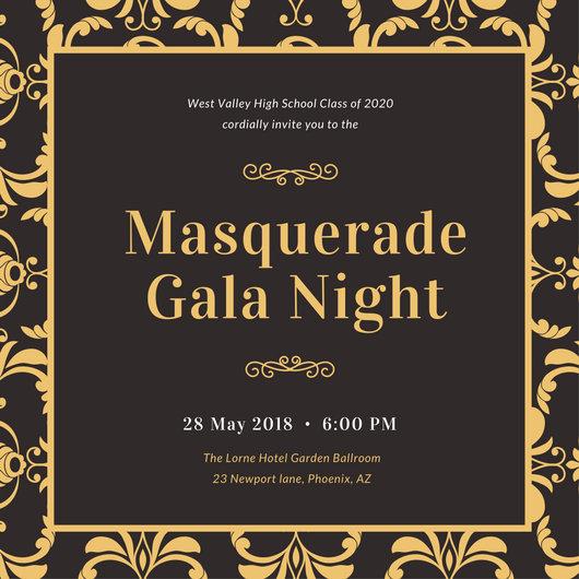 Black Gold Vintage Masquerade Invitation - Templates by Canva