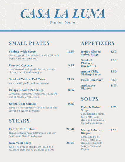 Blue Simple Dinner Menu - Templates by Canva
