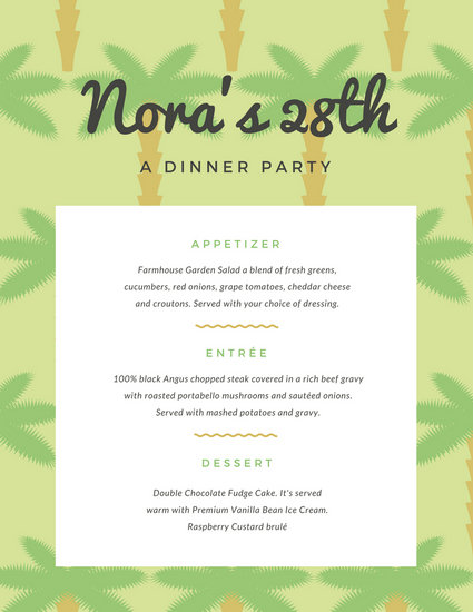 Green Palm Tree Pattern Dinner Party Menu - Templates by Canva - dinner party menu template
