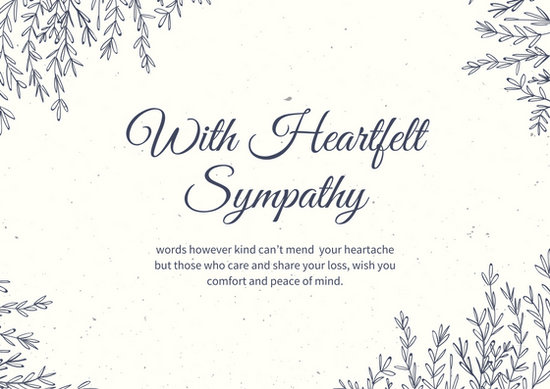 White Papayawhip Leaves Border Sympathy Card - Templates by Canva - condolence template