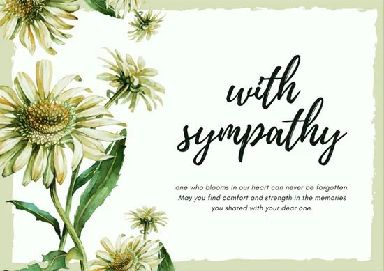 Light Green Daisy Flower Sympathy Card - Templates by Canva