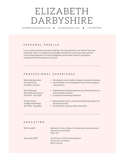 White with Light Pink Shape Minimalist Resume - Templates by Canva