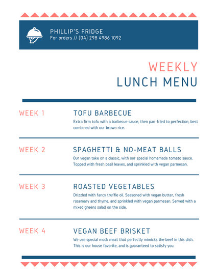 Blue and White Simple Weekly Menu - Templates by Canva - weekly menu