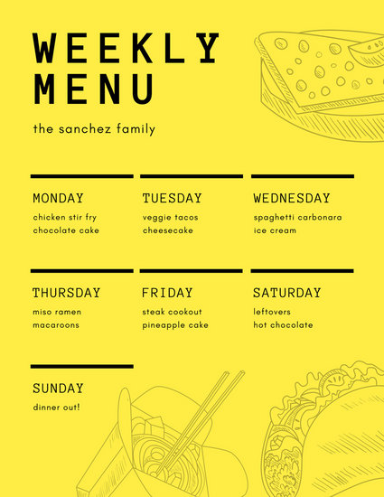 Yellow and Black Food Outlines Weekly Menu - Templates by Canva