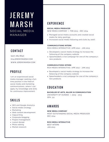 Black and White Bordered Modern Resume - Templates by Canva