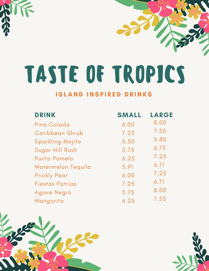 Colorful Tropical Drink Menu - Templates by Canva - drinks menu template