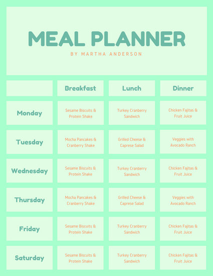 Navy Blue Cross Lines Meal Planner Menu - Templates by Canva