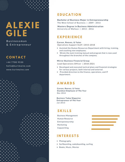 White and Blue with Polka Dots Minimalist Resume - Templates by Canva - resume design