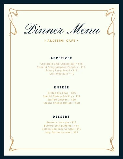 fancy menu template free - Trisamoorddiner