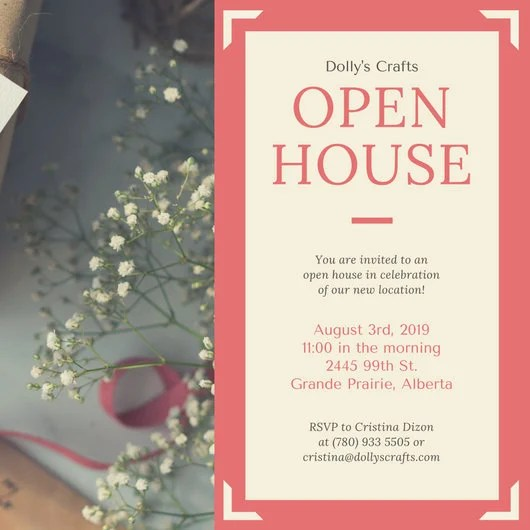 Coral Border Business Open House Invitation - Templates by Canva - business invitation templates