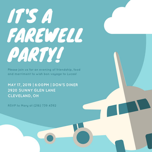 Blue Airplane Farewell Party Invitation - Templates by Canva - goodbye party invitation templates