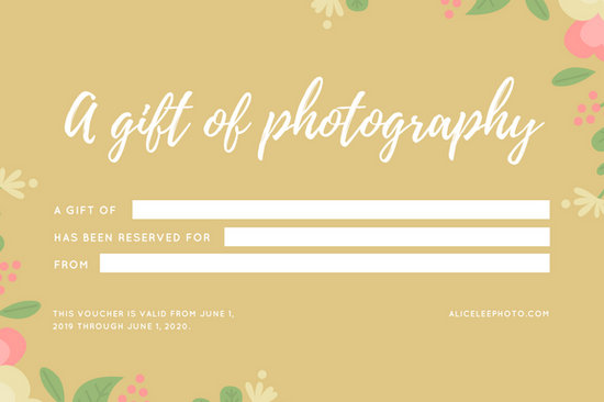 Gold Floral Baby Birth Photography Gift Certificate - Templates by Canva