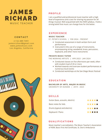 Yellow with Music Instruments Infographic Resume - Templates by Canva - resume music
