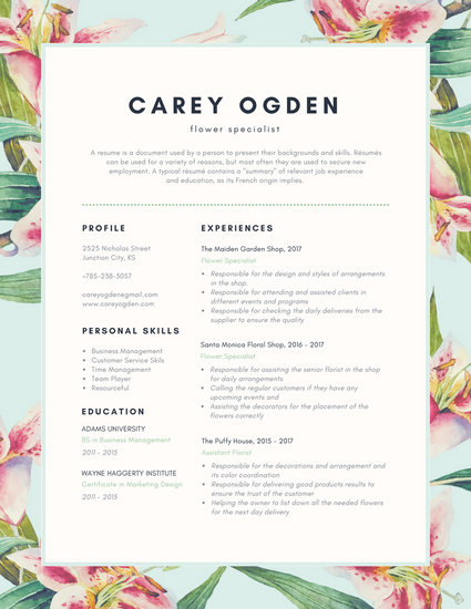 Green Florals Creative Resume - Templates by Canva