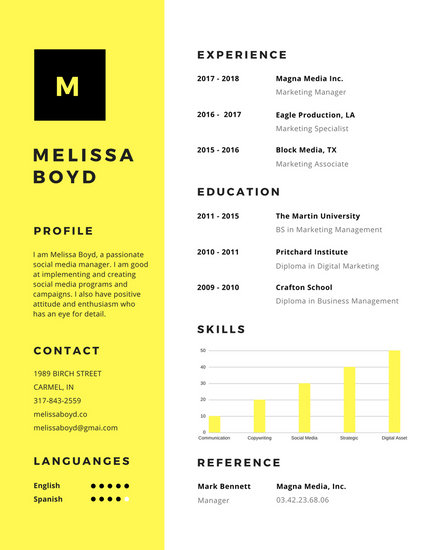 Yellow Simple Modern Resume - Templates by Canva