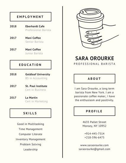 Ivory Coffee Minimalist Resume - Templates by Canva