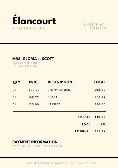Cream and Black Simple Invoice - Templates by Canva - invoice letterhead