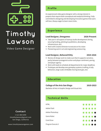 Black and White with Green Infographic Resume - Templates by Canva