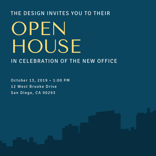 Blue with Building Open House Invitation - Templates by Canva
