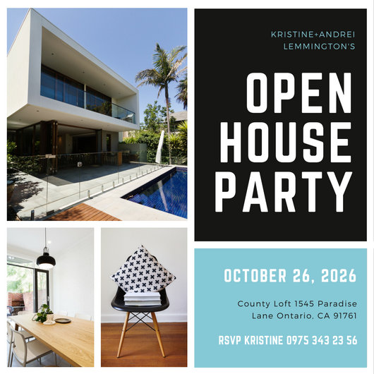 Black and White Photo Grid Open House Invitation - Templates by Canva