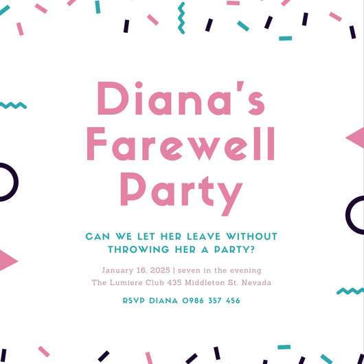 Pink and Blue Confetti Farewell Party Invitation - Templates by Canva - goodbye party invitation templates