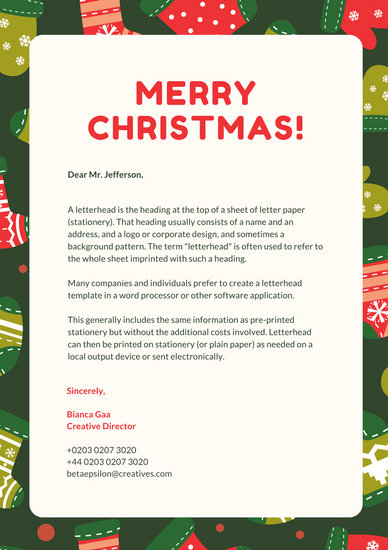 Forest Green and Red Christmas Letterhead - Templates by Canva