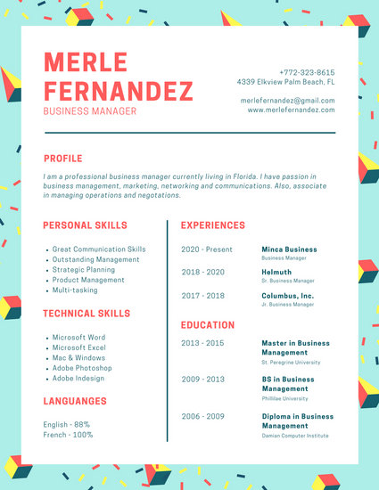 Teal Memphis Style Modern Resume - Templates by Canva