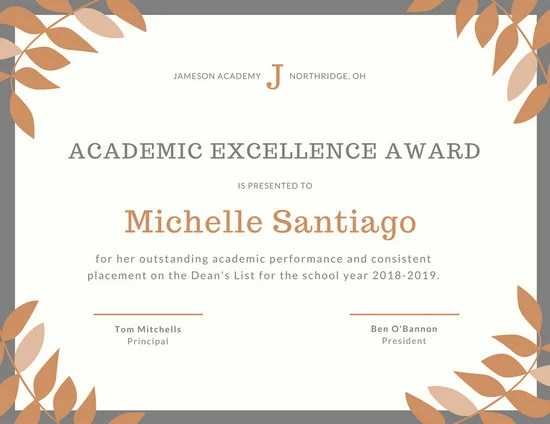 Orange Grey Laurel Academic Excellence Certificate - Templates by Canva - excellence award certificate template