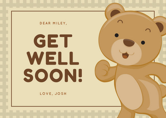 Adorable Brown Bear Get Well Soon Card - Templates by Canva - get well soon card
