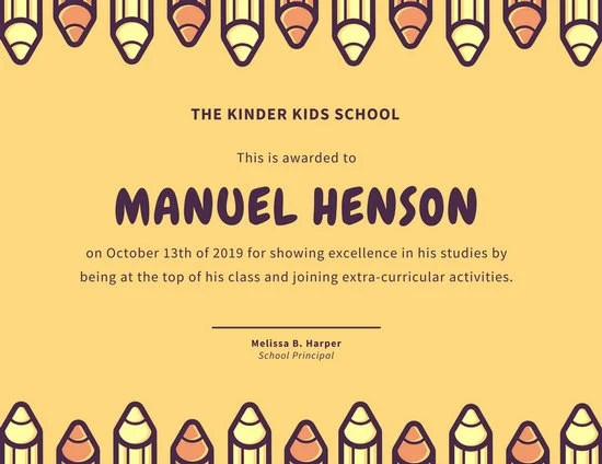 Yellow with Pencils Kids School Certificate - Templates by Canva