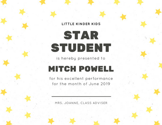 White with Yellow Stars and Line Student Certificate - Templates by