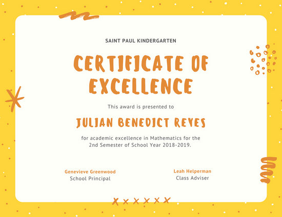Yellow and Orange Polka Dots Student Certificate - Templates by Canva
