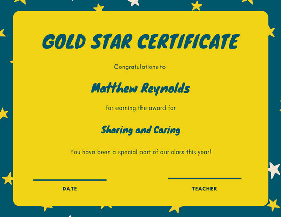 Dark Teal and Yellow Star Kinder Student Certificate - Templates by