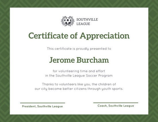 Green Soccer Ball Appreciation Certificate - Templates by Canva