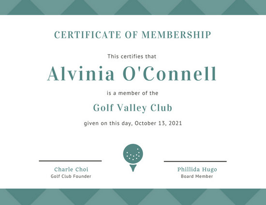 Green Golf Ball Membership Certificate - Templates by Canva - membership certificate templates