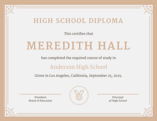 Customize 325+ High School Diploma Certificate templates online - Canva - high school diploma wording