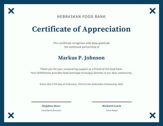Simple Blue and White Bordered Certificate of Appreciation - gratitude certificate