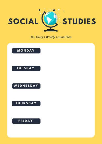 Yellow Simple Social Studies Lesson Plan - Templates by Canva - social studies lesson plan template