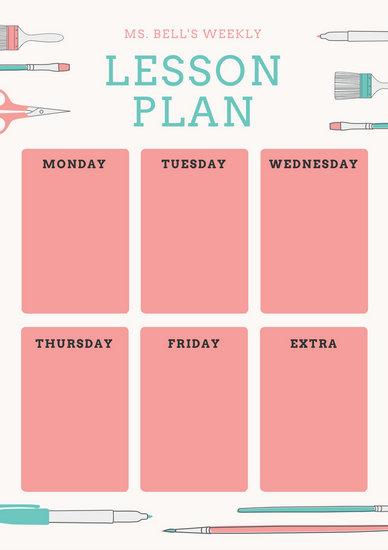 Lesson Plan Templates - Canva - art lesson plans template