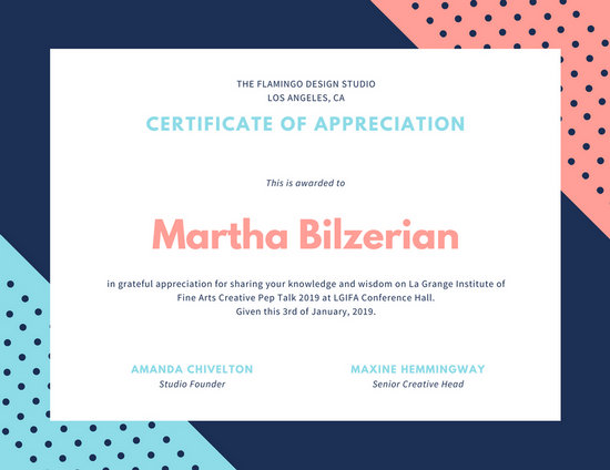 Pink Blue Dots Certificate of Appreciation - Templates by Canva