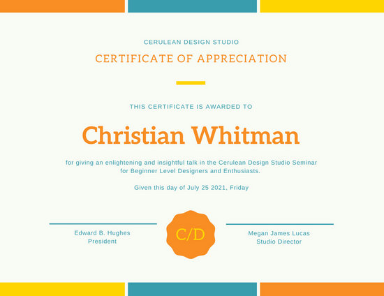 Yellow Blue Colorful Simple Bordered Certificate of Appreciation