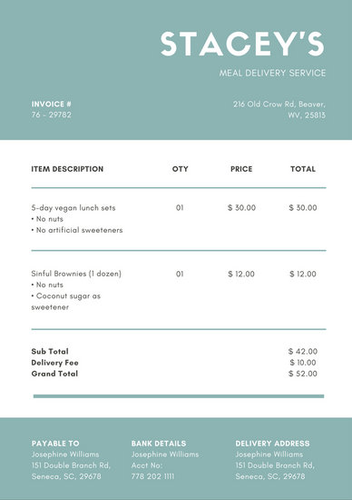Teal  White Simple Invoice - Templates by Canva