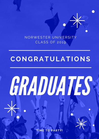 Blue  White Photo Background Graduation Announcement - Templates by