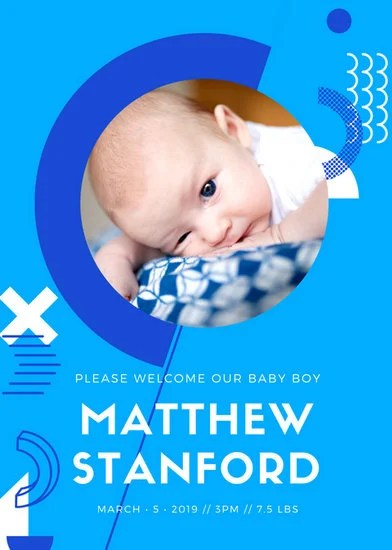 Blue  White Modern Abstract Birth Announcement - Templates by Canva