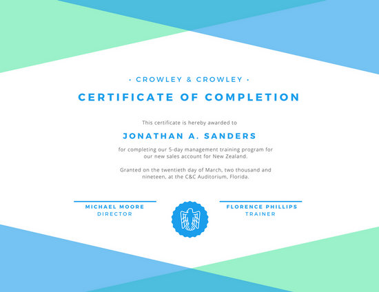 Green, White,  Blue Certificate of Completion - Templates by Canva - certificate of completion training