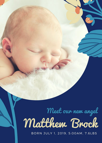 Blue Flowers Baby Boy Birth Announcement - Templates by Canva