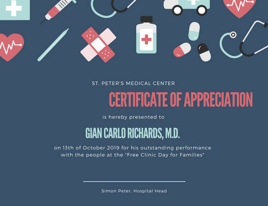 Blue with Hospital Icons Appreciation Certificate - Templates by Canva - free appreciation certificate templates